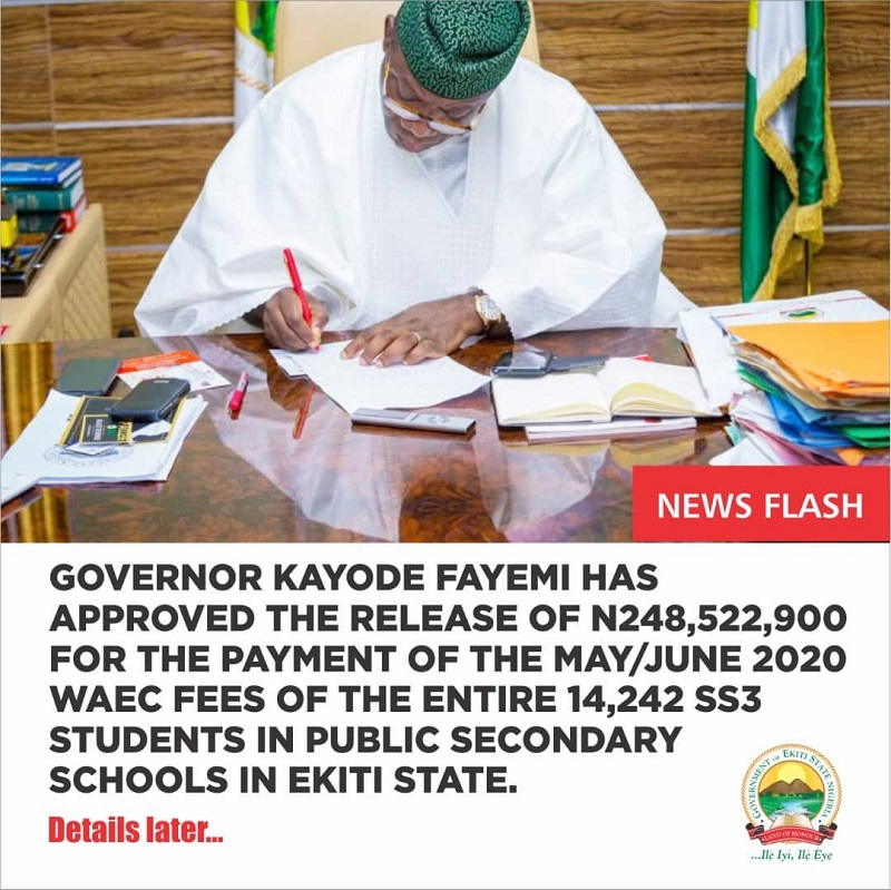 Governor Fayemi releases N248, 522,900 as WAEC fees for 14,242 SS3 Students
