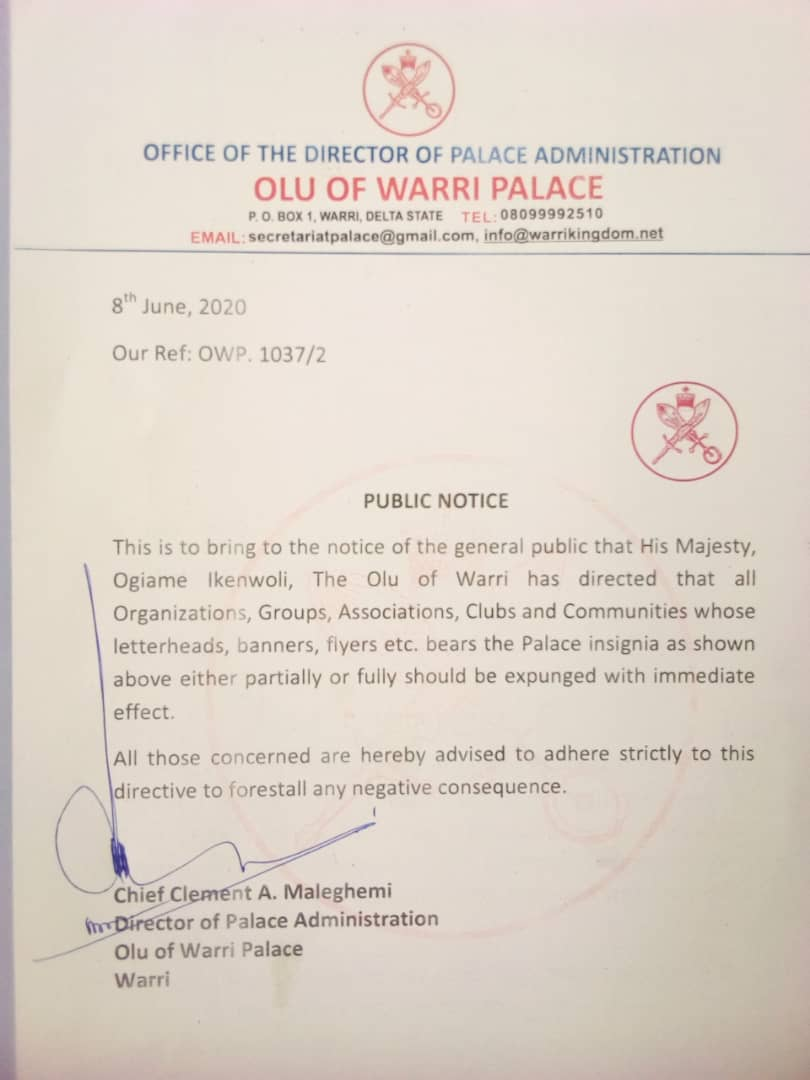 Expunge palace insignia from your letter heads, Olu of Warri directs communities, associations