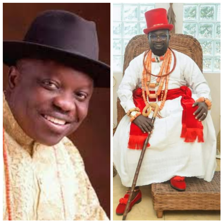Former Governor Uduaghan felicitates with  Chief Emami at 45