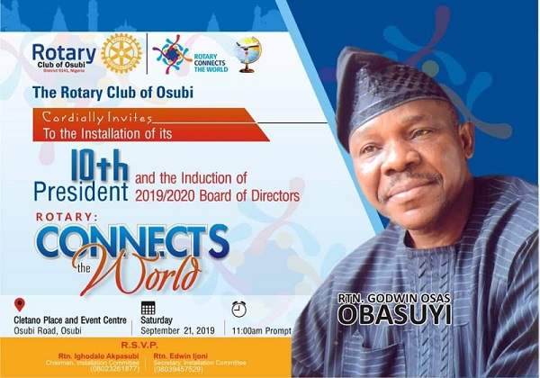 Obasuyi to be installed as 10th President of Rotary Club of Osubi
