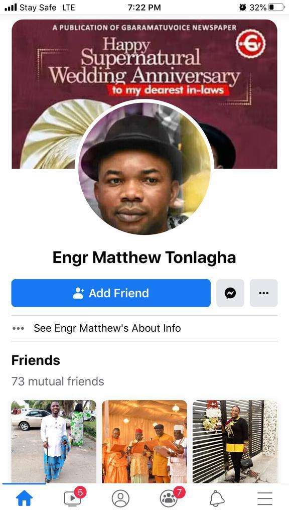 DISCLAIMER: IMPERSONATION OF MR. MATTHEW TONLAGHA ON FACEBOOK